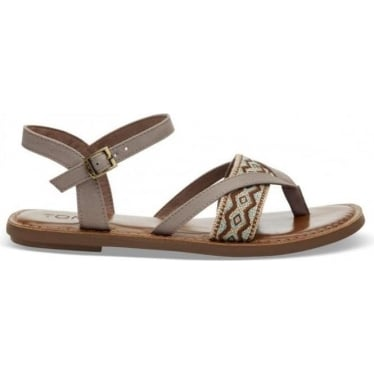 Womens Lexie Embroidery Sandals in Taupe