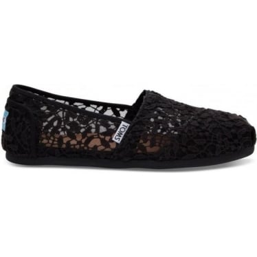 Womens Lace Leaves Classics in Black