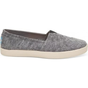 Womens Avalon Canvas Slip-On in Black Slub Chambray