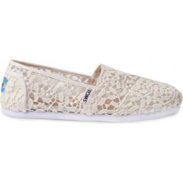 Womens Lace Leaves Classics in White