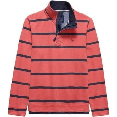 Mens Padstow Pique Sweat in Spiced Coral Stripe