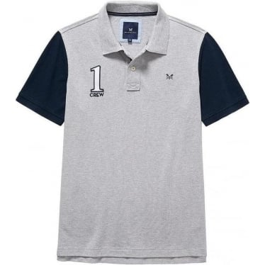 Mens Numbers Pique Polo in Mid Grey Marl/Navy