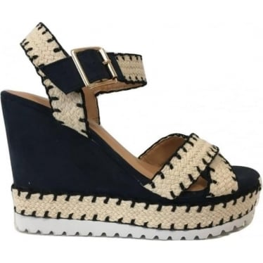 Womens Nasna Wedges in Jean Blue