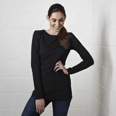 Womens Long Layering Tee in Black