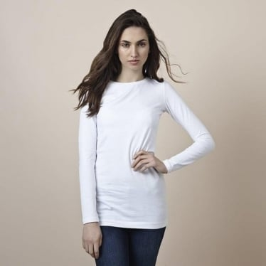 Womens Long Layering Tee in White