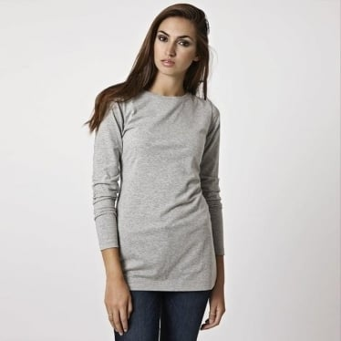 Womens Long Layering Tee in Grey