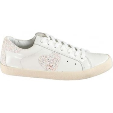 Womens Nydola Glitter Leather Sneakers in Kentucky Pink