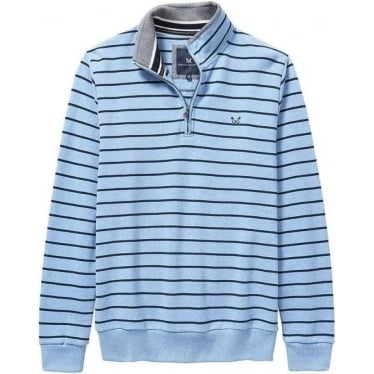 Classic Mens Half Zip Sweat in Sky/Blue Navy Stripe