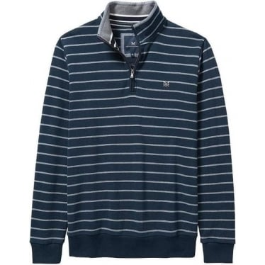 Mens Classic Half Zip Sweat in Navy/Grey Stripe