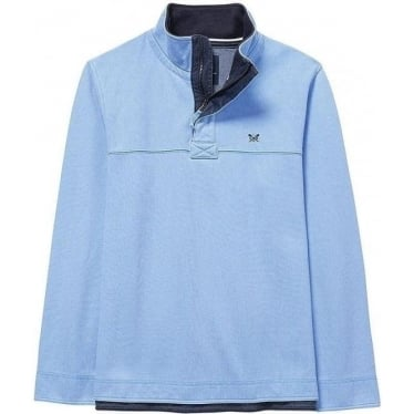 Mens Padstow Pique Sweat in Sky Blue