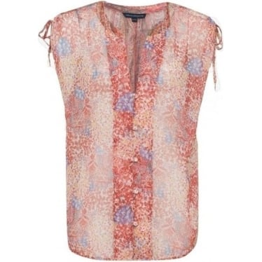 Womens Malika Sheer Paisley Top in Apricot Multi