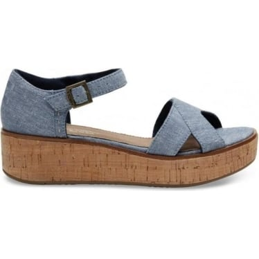 Womens Harper Wedge in Blue Slub Chambray
