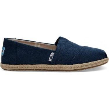 Womens Classic Navy Washed Rope Sole