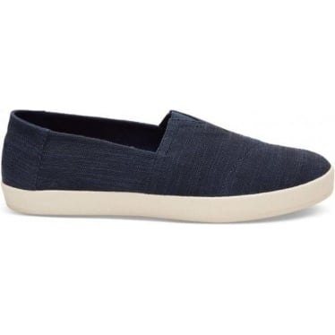 Mens Avalon Slubby Linen Slip-Ons in Navy
