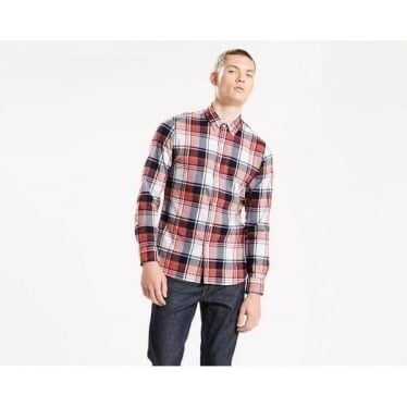Mens Pacific No Pocket Shirt in Madrone Cherry Bomb Plaid
