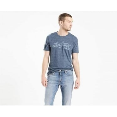 Mens Wordmark Graphic Tee in Shadow Dress Blues Tri Blend