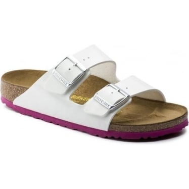Womens Arizona Birko-Flor Patent in White Narrow Fit
