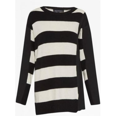 Womens Ollie Stripe Knit Long Sleeve Crew in Black/White