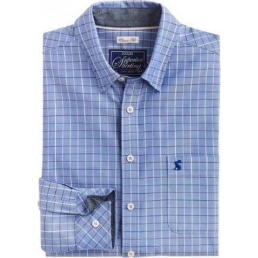 Mens Wilby Long Sleeve Classic Shirt in Blue Check