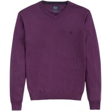 Mens Retford V Neck Jumper in Purple Marl