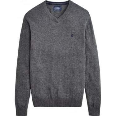 Mens Retford V Neck Jumper in Grey Marl