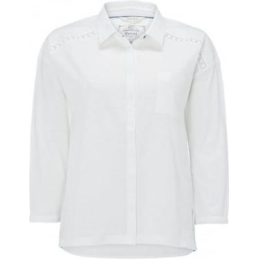 Womens Yannie Yoke Jersey Shirt in White