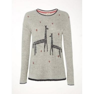 Womens Canter Embroidered Jumper in Metallic Grey Plain
