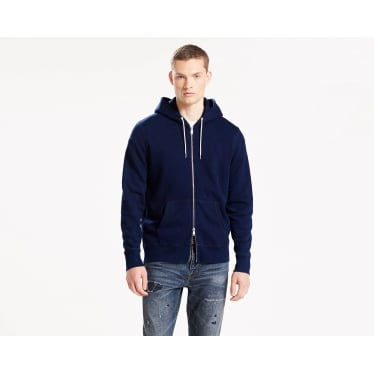 Mens Orginal Zip Up Hoodie in Dark Indigo