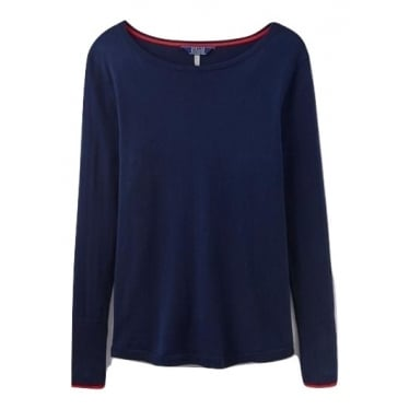 Womens Tara Curved Hem Jumper in French Navy