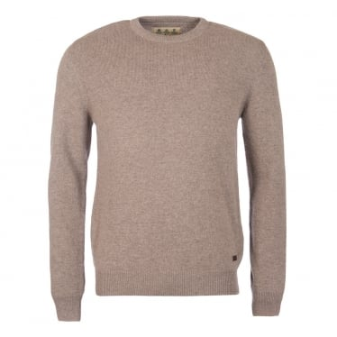 Mens Nelson Essential Crew Neck Jumper in Dark Stone