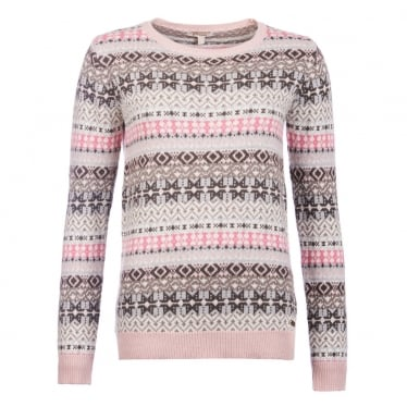 Womens Tarn Fairisle Crew Neck Sweater in Oatmeal