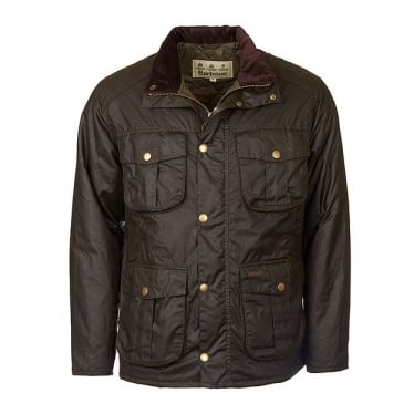 Mens Winter Utility Wax Jacket in Olive