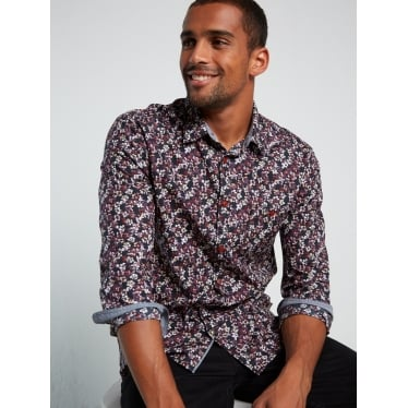 Mens Blossom Floral Shirt in Panther Pink