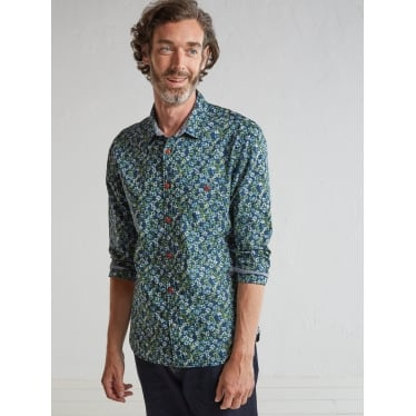 Mens Blossom Floral Shirt in Blue