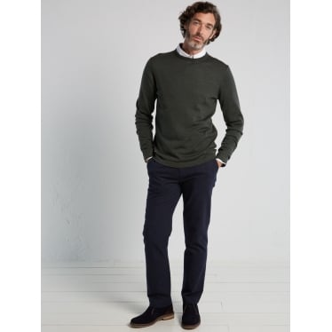 Mens Fennel Merino Crew in Oak Leaf Green