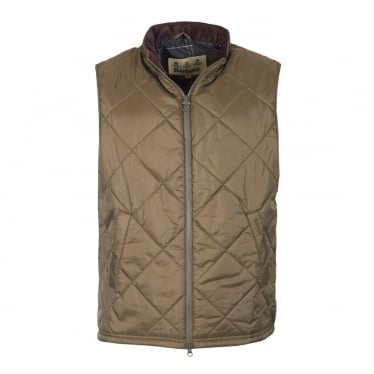 Mens Finn Quilted Gilet in Olive