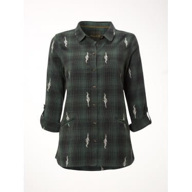 Womens Rain Emb Check Shirt in Sea Green Check