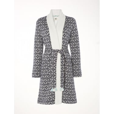Womens Geostar Fluffy Jacquard Robe in Snoozy Navy