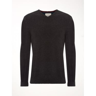 Mens Back Stop Vee Knit in Charcoal