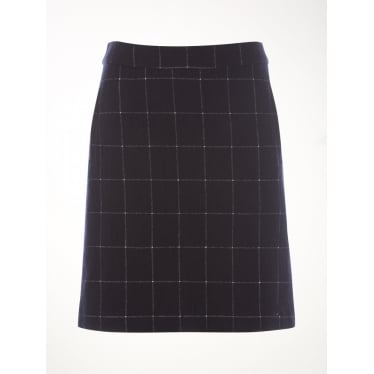 Womens Norma Check Jersey Skirt in Old Town Blue Plain