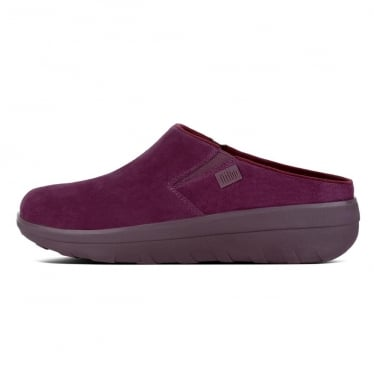 Womens Loaff Suede Clogs in Deep Plum