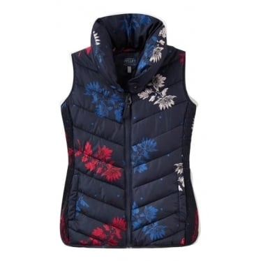 Womens Larkhill Print Padded Gilet in Marine Navy Fay Floral