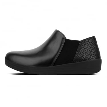 Womens Superchelsea™ Leather Slip Ons in Black/Black Snake