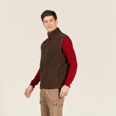 Mens New Shepper Polartec Sheepskin Fleece Gilet in Mouton Marron