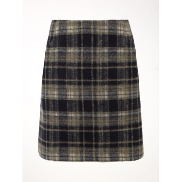 Womens Chrissy Check Skirt in Muted Brown Print