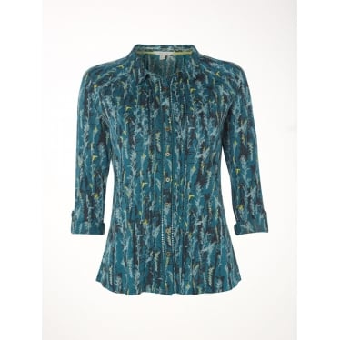 Womens Hedgerow Jersey Shirt in Sea Green Print
