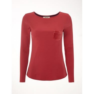 Womens Nightsky Rib Cotton Tee in Spiced Red