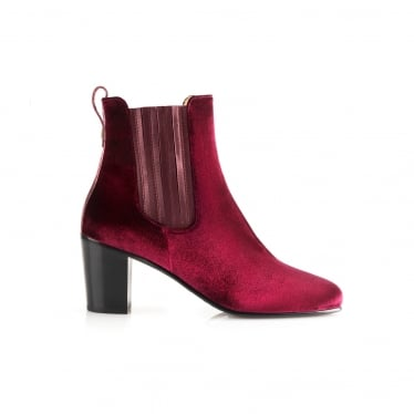 Womens Electra Boot in Burgundy Velvet