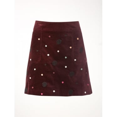 Womens Artisan Spot Emb Velvet Skirt in Aubergine Purple Print