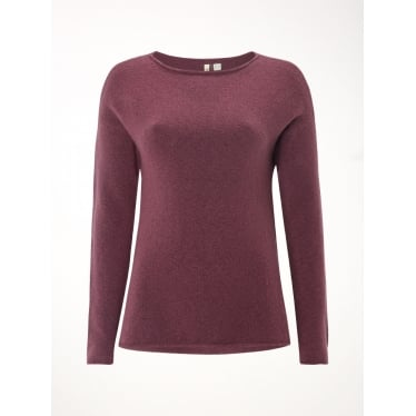 Womens Kiki Funnel Neck Jumper in Rose Brown Plain